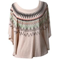 Aztec Print Poncho Top-NOVELTY TOPS-Styles for Less Clothes Womens &... ($17) ❤ liked on Polyvore