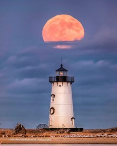 "Michael Blanchard Photography on Instagram: ""The last full moon of the decade over Edgartown Light."" Nantucket, Full Moon, Cape Cod, Christmas Lights, Table Lamp, Martha's Vineyard, Sunday Night, Lighthouses, Lighting"