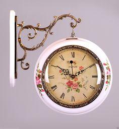 details zu wall clock double sides station clock vintage antique retro home decor classic