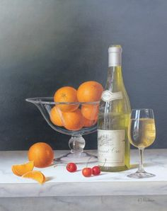 Roy HODRIEN - Chablis with Oranges in a glass Bowl