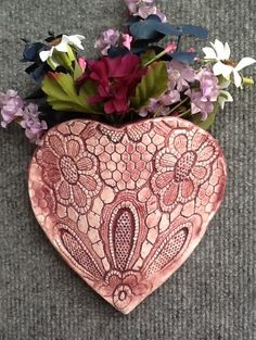 Heart Pocket with Inlaid Lace