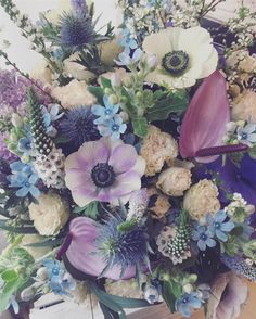 Perfect Love in selection of romantic hues with hydrangea, oxypetalum, anemone, thistle, snowwillow, spray roses, ornithogalum, anthurium, eucalyptus.