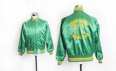 Vintage 1960s Satin Jacket  Green  Yellow BOXING 70s