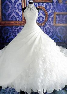 Luxurious Organza & Satin High Collar Neckline Ruffled Ball Gown Wedding Dress With Beadings & Rhinestones