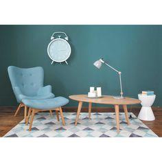 Scandinavian Blue Fabric Footstool/Pouffe