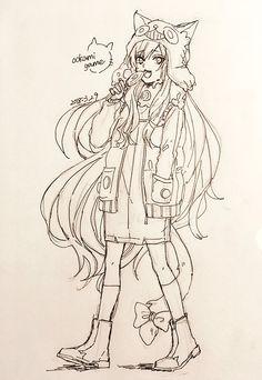 埋め込み Japanese App, Art Style Challenge, Manga Characters, Aesthetic Art, My Drawings, Coloring Pages, Anime Art, Wolf, Animation
