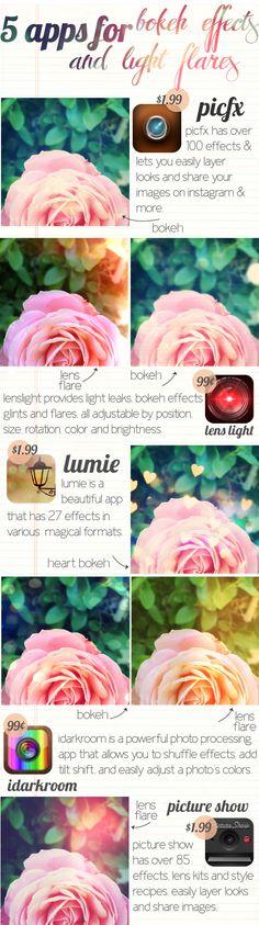 5 apps for bokeh effects and light leaks in Instagram :)