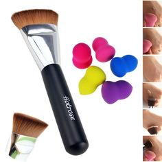 Hotrose® Flat Foundation Face Cosmetic Trimming Brush with 5pcs Bottle Shaped Beauty Makeup Blender Sponge Set >>> More info could be found at the image url. (Amazon affiliate link)