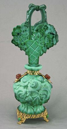 Amy Bergman Antiques - Rare Czech Ingrid Malachite Jeweled Perfume Bottle