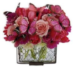 beautiful floral and butterfly centerpiece