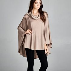 """Crystalline"" Loose Cowl Neck Poncho Top Loose cowl neck poncho top. Available in black, burgundy and taupe. This listing is for the TAUPE. Brand new. True to size. Bare Anthology Tops Blouses"