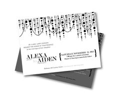 Chandelier Wedding Invitation, Black and White Wedding, Sophisticated Wedding, Stylish, Romantic, Vintage