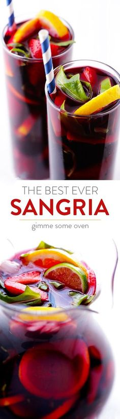 The BEST Sangria ~ Seriously the best ever, all thanks to one secret ingredient Refreshing Drinks, Summer Drinks, Cocktail Drinks, Fun Drinks, Alcoholic Drinks, Beverages, Summer Sangria, Cocktail Desserts, Bourbon Drinks