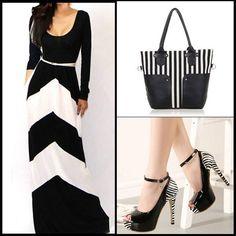 Elegant temperament and slender figure... #Dress>>> http://www.onfancy.co.uk/fashion-contrast-color-stripes-round-neck-long-sleeve-maxi-dress.html Bag>>> http://www.onfancy.co.uk/casual-vertical-stripes-splicing-large-size-shoulder-bag-handbag-purse.html Shoe>>> http://www.onfancy.co.uk/fashion-contrast-color-super-high-heeled-peep-toe-stiletto-sandals.html