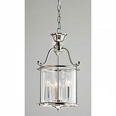An antique nickel finish highlights this 3-light chandelier. This light fixture features a clear shade. Includes 40 inches of chain Setting: Indoor Fixture finish: Nickel Shades: Clear Number of...