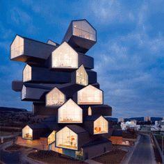 Ruchome gify autorstwa Architecture Animée prezentują znane budynki zmieniające kształt. potencjał kształtów. / Animated gifs by Architecture Animée present well known buildings changing shape. #fun #gif