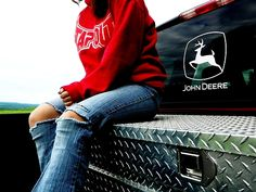 , old jeans a hoodie and a truck.. Just my style!! ;)