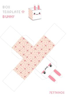 Box template bunny by JettKnox on DeviantArt Diy Gift Box, Diy Box, Diy Gifts, Box Template Printable, Printable Crafts, Box Templates, Cardboard Box Crafts, Paper Crafts Origami, Eid Stickers