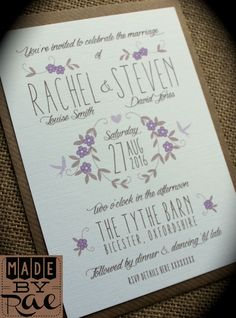 Personalised wedding invites rustic lilac purple brown floral kraft white SAMPLE