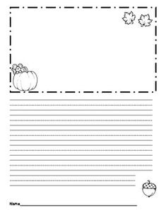 Cute writing paper for first graders with handwriting lines and a place for a picture.Clip art and font are DJ Inkers.