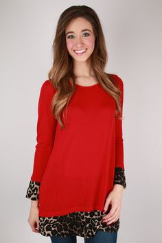 """The Leopard accents of """"The Posh Life Tunic"""" add just the right amount of sass to this comfy little number!"""