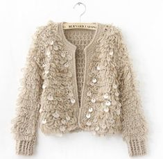 Light pink very warm sequined knit jacket New. Xs/s/m. Available in light pink, black and white Sweaters Cardigans Light pink very warm sequined knit jacket New. Xs/s/m. Available in light pink, black and white Sweaters Cardigans Cardigan Au Crochet, Cardigan En Maille, Pullover Pink, Pullover Outfit, Cardigan Fashion, Knit Fashion, Women's Fashion, Sweater And Shorts, Sweater Coats