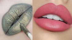Lipstick Tutorial For begginers💄 New Amazing Lip Art Ideas Mood Lipstick, Gloss Lipstick, Sparkle Lips, Glitter Lips, Affordable Makeup Brushes, Bad Makeup, Makeup Starter Kit, Long Lasting Lip Gloss, Lips