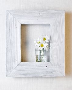 Framed Shadowbox Shelf - White with Blue-Gray sides and insides. So charming with daisies!