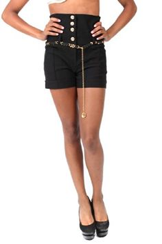 Touch Me High Waisted Shorts with Gold Chain Belt (2X-Large, Black)