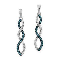 10KT White gold 0.30 ctw diamond and color enhanced blue diamond earrings. EAR-DIA-1471