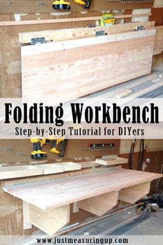 Woodworking Bench How to Make a DIY Folding Workbench - Save space in your garage by building a DIY folding workbench. This easy, sturdy build takes a weekend, and when not working, you can fold the workbench up. Folding Workbench, Workbench Plans, Woodworking Workbench, Woodworking Furniture, Garage Workbench, Steel Workbench, Industrial Workbench, Mobile Workbench, Woodworking Equipment