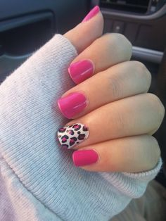 Pink with leopard accent nail. Maybe use silver on the accent nail instead of white.