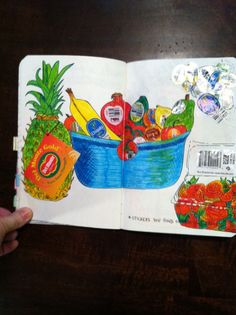 Wreck+This+Journal+Finished | My wreck this journal- fruit stickers page. Still have room to add ...