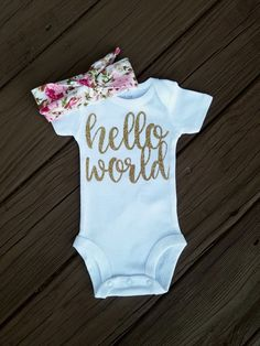 Hello World Onesie And Headband Coming Home Outfit Girl Newborn Outfit Girl