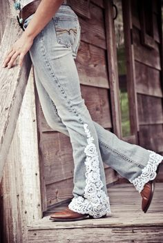 Lace Trimmed Jeans in White by ShiftJeans on Etsy, $95.00