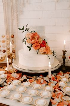 Tiered cake with coral florals and greenery (Venue: // Cake: // Desserts: // Florals: Coral Wedding Cakes, Coral Wedding Flowers, Fall Wedding Cakes, Elegant Wedding Cakes, Dessert Bar Wedding, Wedding Sweets, Sedona Wedding, Our Wedding, Burnt Orange Weddings