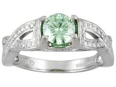 Moissanite Luisant Mint(Tm) .80ct Diamond Equivalent Weight Round, Platineve(Tm) Solitaire Ring