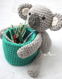 Free crochet pattern: Koala Bear Basket amigurumi by Repeat Crafter Me