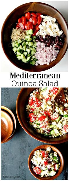 Mediterranean Quinoa Salad - Bring all of those delicious Mediterranean flavors together in this beautiful quinoa salad. Perfect as a side, or a main for your Meatless Monday. From www.bobbiskozykitch (Quinoa Recipes Mediterranean)