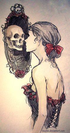 o que todos enxergamos quando nós olhamos para o espelho da alma,não mais que o outro,porque afinal somos todos iguais, não devemos ligar se uma pessoa é branca, negra, tem tatuagens, usa piercings, somos todos iguais, por baixo de toda a sua rupa de moda, de sua pele branca como a neve, tem uma caveira, um esqueleto, assim como todos tem, então repense seus atos, você é como todos, não tente se achar melhor que ninguém...