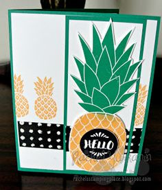 Rachel's Stamping Place: Hello There using the Pineapple background stamp and the Pop of Paradise stamp set from Stampin' Up!