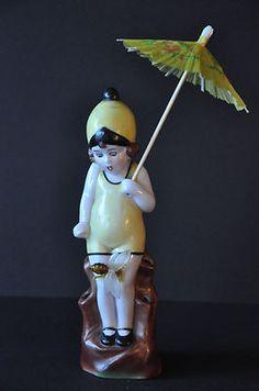 Porcelain Vintage Child Hatpin Holder Flower Frog Half Doll Figurine   eBay