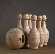 1920s French Bowling Set  Set this collection up in a fireplace during warmer months.