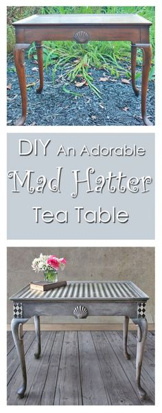 DIY Mad Hatter Tea Table - Thicketworks for Graphics Fairy. Fun furniture makeover for an old boring table!. Great techniques and tutorial!