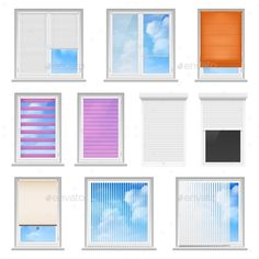Window Blinds Colored Flat Set