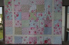 Baby or toddler girl quilt, Tanya Whelan Slipper Roses, pink-blue-green on Etsy, $120.38 AUD