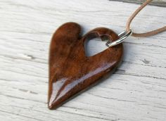 Walnut Hand Crafted Heart Necklace by The Lotus Shop, $16.95