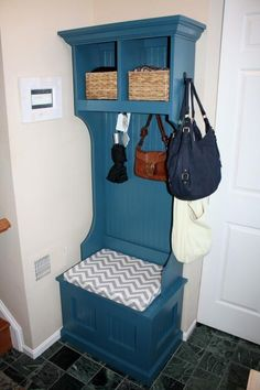Make a small corner in your entry way work for you. This storage hutch with cushion uses once wasted space functional and sleek. Free #Plans at  Ana-White.com #DIY