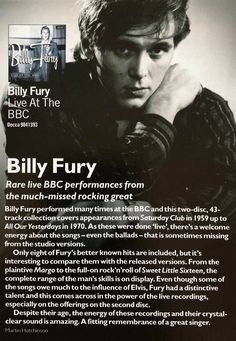Billy Fury - from Lee Fry Saturday Club, Billy Fury, Best Of British, Thoughts Of You, Rock N Roll, Liverpool, Arms, The Unit, Singer