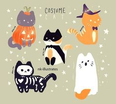 "nkim-doodles: ""It's not Halloween season right now, but eh just for the fun of it lol! Fete Halloween, Halloween Cat, Halloween Season, Cute Halloween Drawings, Kawaii Halloween, Costume Halloween, Cute Animal Drawings, Kawaii Drawings, Cute Cat Drawing"
